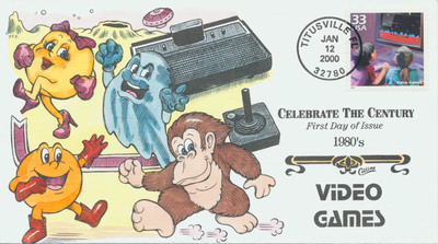Celebrate the Century: 1980s Video Games Stamp First Day Cover and Hand-Painted Cachet