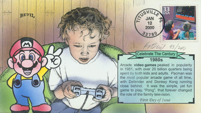 Bevil's Signed Celebrate the Century: 1980s Video Games Stamp First Day Cover and Hand-Painted Cachet